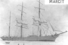 """Steel Barque """"Margit"""", ex """"Craiglands"""", built in 1891 by C.J. Bigger - Londonderry.  Owned by Acties Margith and managed by Chr. Nielsen & Co.  The vessel went ashore on the Coorong Beach 34 miles north of Kingston on December 11 , 1911 and became a total"""