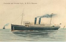 """Passenger vessel """"Marmora"""", built by Harland & Wolff Ltd - Belfast, she took her maiden voyage on 13 November 1903.  She operated the route between Uk and Australia via the Suez Canal for P & O until 1914 when she was commandeered as an armed merchant cru"""