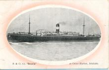 """Passenger Vessel """"Benalla"""", built in 1912 by Caird & Co - Greenock and launched on 27 October 1912.  Vessel took her inaugural voyage in March 1913 from London to Sydney. Base Port:  London Tonnage:  11118 gross Dimensions:  length 515', breadth63', dr"""