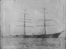 """Iron Barque, """"British Yeoman"""", ex """"Stefano Razeto', built in 1880 by Oswald, Mordaunt & Co - Southampton.  Owned by Eschen & Minor. Tonnage:  1953 gross, 1862 net Dimensions:  length 269'2"""", breadth 39'8"""", draught 24'2"""" Port Of Registry:  San Fransisco"""