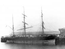 """Barque """"Beltana"""", built in 1869 by J Laing - Sunderland.  Owned by A L Elder & Co. Dimensions:  length 172'5"""", breadth 33'6"""", draught 19'2"""" Tonnage:  741 Official Number:  609 51 Port Of Registry:  London"""