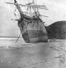 """Three masted Barque """"Ethel"""", built at Sunderland. This image shows vessel stranded."""