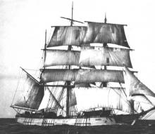 """Three masted wooden Barque """"Daniel"""", built in 1894 and sold to Australian owners in 1907 and reregistered in Sydney.  She took part in the Australian and New Zealand Timber trade until she was hulked in Sydney in about 1920. Tonnage:  345 gross Official"""