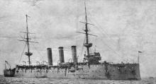 """""""H.M.A.S. Encounter"""", a Challenger class twin screw second class protected cruiser.  Laid downon 28th January 1901 and launched on 18th June 1902.  In later years was given light cruiser status.  She arrived in Australian waters in early 1906 to serve on"""