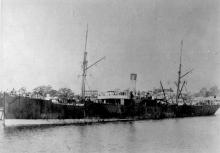 """General cargo vessel """"Ouraka"""", a steel screw steamship built by Russel & Co - Greenock in 1890 for the Adelaide Steamship Co Ltd.  Tonnage:  2637 gross, 1709 net Diumensions:  length 300'3"""", breadth 41'2"""", draught 19'6"""" Official Number:  89431 Port O"""