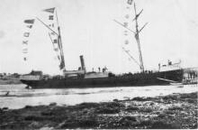 """Iron Steamship """"Queen of the South, a General cargo vessel built in 1877 at Paisley, Scotland.  Registered at Wellington in 1889, Owned in 1902 by Edward Pearce, John Duncan & 4 others.  Tonnage:  198 gross, 121 net Dimensions:  length 126'2"""", breadth"""