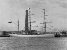 """Barque """"Sumbawa"""", built in 1885 at Glasgow by Russel & Co. Official Number:  87420 Tonnage:  1147 gross Dimensions:  Length 215', breadth 35', draught 21'"""