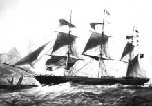 "Wooden Clipper Ship ""Orient"", built in 1853 ."