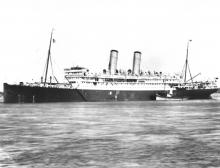 """Passenger vessel """"Otranto"""", Built in 1909 by Workman, Clark & Co - Belfast.  Owned by Orient Line, she operated the route between Uk and Australia via the Suez Canal.  She took her maiden voyage on 1 October 1909, and in 1914 was commandeered as an armed"""