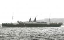 """Passenger vessel """"Moldavia"""", built in 1903 by Caird & Co - Greenock.  This vessel took her first voyage in 1903 and operated the route between the Uk and Australia via the Suez canal for P & O.  In 1915 she was commandeered as an armed merchant cruiser an"""