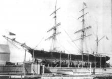 Composite 3 masted Barque built in 1865. This image shows vessel on Jenkins Slip, Birkenhead, Port Adelaide.