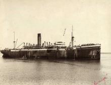 """Passenger cargo vessel """"S.S. Raranga"""", built in 1916 at Newcastle by Armstrong Whitworth & Co for Shaw Savill & Albion Co Ltd.  A Steel twin screw steamer.  Tonnage:  10.040 gross Dimensions:  length 478'0"""", breadth 63'2"""", draught 31'2"""" Official Numbe"""