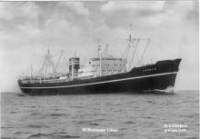 "General cargo vessel ""Theben"", built in 1953 by eriksbergs M'V A'B Got.  Owned by Wilhelm Wilhelmsen.  Tonnage:  7010 gross, 4120 net Dimensions:  length 510'5"", breadth 65'2"", draught 27'7.5"" Port Of Registry:  Tonsberg Flag:  Norwegian"