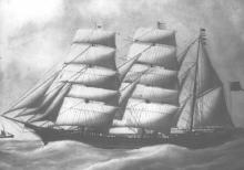 """Wooden Barque """"Harriet McGregor"""", 331 gross ton, built in 1871 by John McGregor in Hobart, owned by Alex McGregor. Official Number: 57514 Dimensions:  length 134'2"""", breadth 27'6"""", draught 15'9"""""""