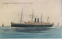 """Passenger Vessel """"Victoria"""", built in 1887 by Caird & Co - Greenock.  Owned by P & O Steam Navigation Co.  Tonnage:  6091 gross, 2990 net Dimensions:  length 465'8"""", breadth 52'0"""", draught 26'3"""" Port Of Registry:  Greenock Flag:  British"""
