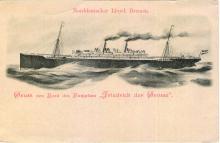 "Passenger vessel ""Friedrich der Grosse"".  Front of card reads Norddeutscher Lloyd, Bremen.  ""Gruss von Bord des Dampfers ""Friedrich der Grosse""""  Translated means:  ""Greetings from the ship ""Friedrich the Great"""""