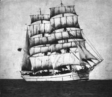 """Steel Barque """"Favell"""", built in 1895 by C Hill & Sons - Bristol.  Owned by Aktieb Finska, Skolskeppsrederiet.   Managed by Gunnar Rydman.  Tonnage:  1309 gross, 1247 net Dimensions:  length 237'5"""", breadth 36'2"""", draught 21'3"""" Port Of Registry:  Helsi"""