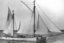 Ketch built in 1864 in Franklin, Tasmania. This image shows vessel loaded with bags of cargo.