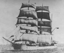 """Steel Barque """"Garthneill"""" ex """"Inverneill"""", built in 1895 by Russell & Co - Port Glasgow.  Owned by Marine Navigation Co of Canada Ltd.  This vessel now lies as a hulk in the North Arm of the Port River, Port Adelaide, and has done since November 1935.  Th"""