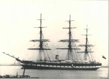 """Steam Clipper """"Great Britain"""", as rigged 1853-1877.  Launched at Bristol in 1843, she was the first iron ship to cross the Atlantic and the first Screw Steamer of any size.  500 HP.   She traded to Australia in 1852 - 1877.  Tonnage:  3270 gross, 1795 n"""