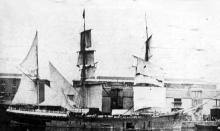 """3 masted Barque """"Glen Osmond"""", built in 1867 in Sunderland by J Laing.  This vessel was a full rigged ship for a few years then changed to Barque rig.  Owned by the W.G. Elder -  Elder line, she was a sister ship of the """"Torrens"""" and """"Collingwood"""".    O"""