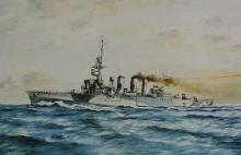 An improved Chatham class light cruiser, shown during service in the Second World War.