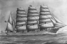 Barque at sea, 1914.