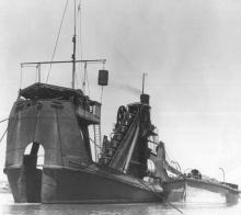 """Dredger, """"ER Bayer"""", shown in this photo in operation."""