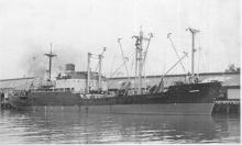 "General cargo vessel, ""Dandenong"", built in 1946 by BHP Co Pty Ltd, Whyalla for the Australian Government.  In 1947 management was transferred to The Australian Shipping Board, and in 1957 was transferred to the Australian National Line (having been conve"