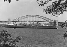 """H.M.A.S """"Australia"""", completed 1928, built by John Brown & Co, Clydebank.  In 1940 Australia was in operations against the Vichy French naval forces at Dakar.  In August 1942 she took part in assisting United States forces landing at Guadalcanal in the So"""