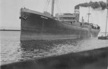 General cargo vessel just prior to colliding with Coal Telpher and Osborne Wharf, 11 May 1932