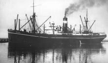 """General Cargo vessel, S.S. """"Mildura"""", ex 'S.S. Enoggera'.  Built in 1920 in Newcastle, NSW.  Owned by CGL, AUSN, and employed in interstate cargo from 1920 to 1951.  Sold for demolition. Official Number:  130164 Port Of Registry:  Melbourne Dimensions:"""