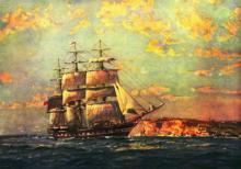 Barque entering Port Jackson, 1883.