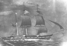 1846 Barque This image is from a painting and words at base read - Hobart Town Whaler - Flying Childers