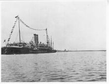 Port and harbour scene - steamer berthed at wharf