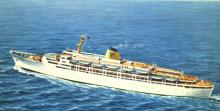 """Passenger liner """"Fairstar"""", built by Fairfield Shipbuilding & Engineering Co, Govan, Glasgow as troopship OXFORDSHIRE for Bibby Line (Great Britain).  Government trooping charter cancelled December 1962; laid up in Falmouth.  Bought by Sitmar Line and ref"""