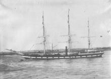 "Barque, ""Rodney"" in full sail."