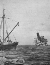 1917 cargo vessel with broken back.