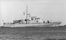 Naval vessel under way