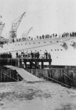 """""""Albatross"""", the RAN Seaplane Carrier, built in 1926 at Cockatoo Island, completed in December 1928.  Although out of date when ordered she provided the low cost alternative to the larger aircraft carrier.  Capable of carrying nine aircraft, but during he"""