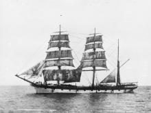 Image: Three masted barque with sails unfurled on ocean